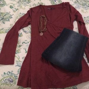 PrAna cranberry long sleeved tunic
